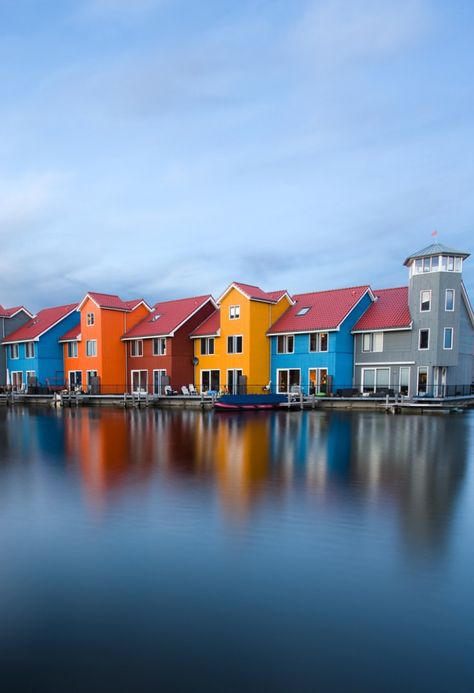 Colorful houses in Groningen, The Netherlands.