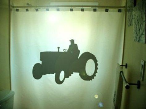 Farming Tractor Shower Curtain Farm Vehicle Bathroom Decor