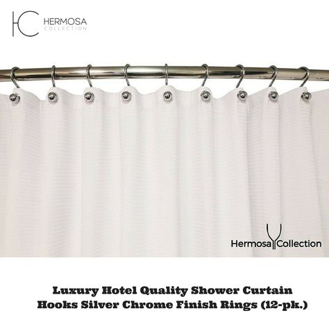 Luxury Hotel Quality Shower Curtain Hooks Silver Chrome Finish Rings 12-pk.
