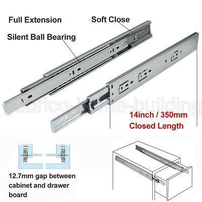 12 24 Full Extension Drawer Slides Side Mount Ball Bearing Heavy Duty 100 Lb Drawer Slides Drawers Drawer Pulls Kitchen Cabinets