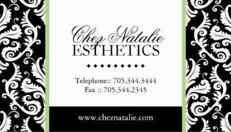 Elegant Black And White Damask Green Accent Stripe Esthetician - Esthetician business card templates
