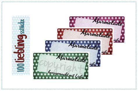 12 selbstklebende Etiketten für Marmelade von 100 Lieblingsstücke auf DaWanda.com