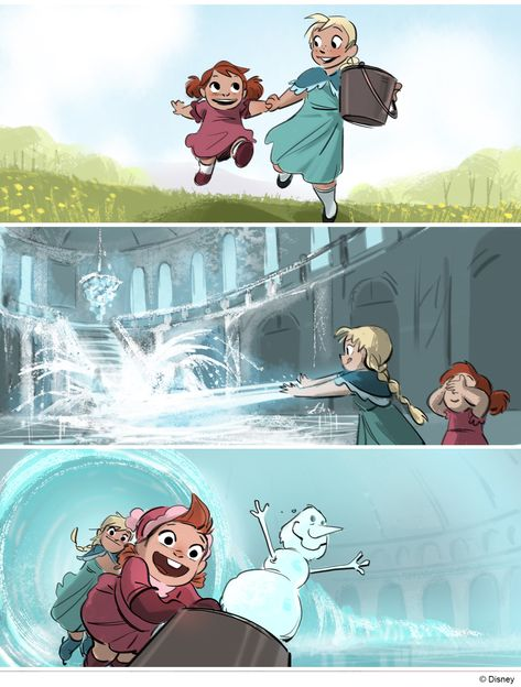 """fawnv: """" I got to do some beat boards during the production on Frozen. One of these panels is in Art of Frozen book. Beat boards are used to represent story moments visually to see how a sequence."""
