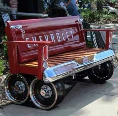 Repurposed Car Parts - Chevy Tailgate Bench Car Part Furniture, Automotive Furniture, Garage Furniture, Furniture Ads, Modular Furniture, Furniture Websites, Furniture Dolly, Furniture Showroom, Urban Furniture