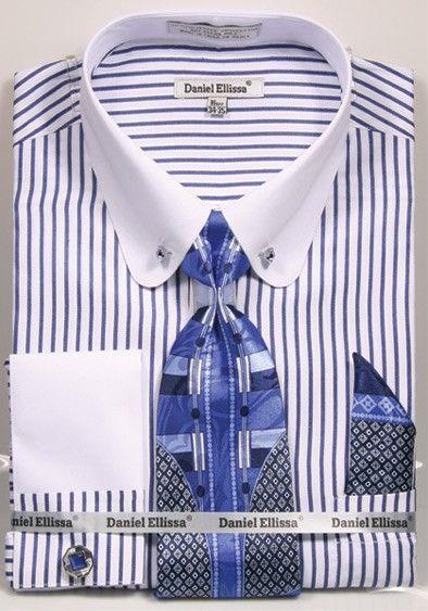 Daniel Ellissa NEW Men's 17.5 orange French Cuff Dress Shirt W// Necktie Set