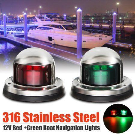 2pcs 12V LED Bow Navigation Light Stainless Marine Boat Yacht Kayaks Red Green