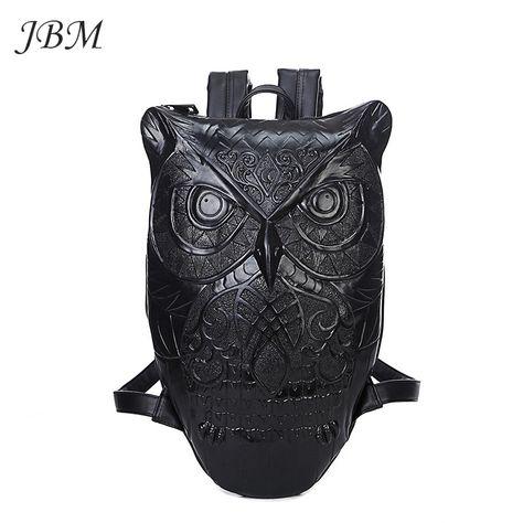 b12b21435547 Купить товар рюкзак женский 2015 новый стильный прохладный черный  искусственная кожа сова рюкзак женские горячая распродажа