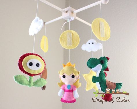 Baby Crib Mobile  Baby Mobile  Mario Brothers by dropsofcolorshop