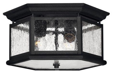 Hinkley Edgewater 2 Light Outdoor Ceiling Light In Black Outdoor