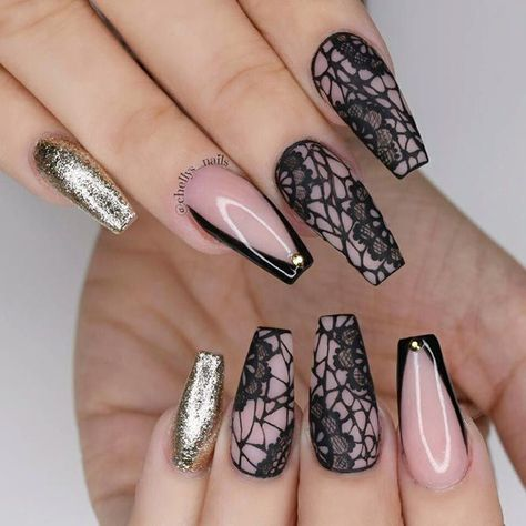 Fabulous Black Laced Nails To look Sexy #blacknails #lacenails #glitternails #coffinnails ❤️ Long nail designs are what glamorous girls look for. But it may seem difficult at time to come up with a suitable idea. That is why we suggest you use our trendy ideas to come up with a flawless look. ❤️ See more: https://naildesignsjournal.com/best-long-nail-designs/ #naildesignsjournal #nails #nailart #naildesigns #longnails