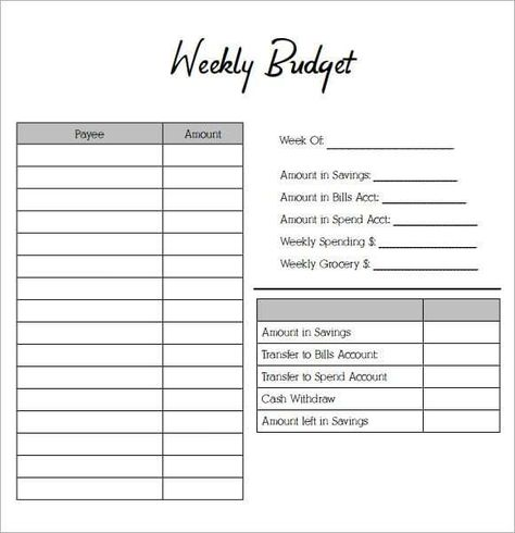 Weekly Budget Planners Word Excel Fomats With Images Weekly