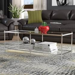 Arviso Sled Coffee Table Coffee Table With Storage Modern Glass
