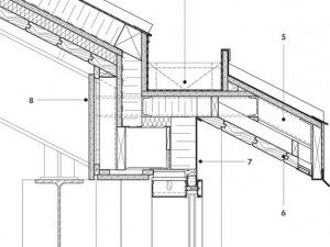 Gutter Detail 1 Curtain Wall With Integrated Wood Grille 2 Steel Structure 3 Standing Seam Metal Roof 4 Concealed Gutter 5 S Mur Rideau Architecte Architecture