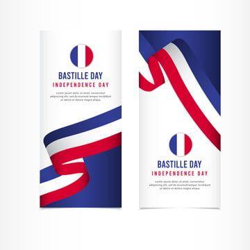 Bastille Day Independence Day Celebration Banner Set Design Vector Template Illustration
