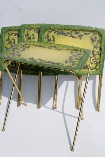 Photo Of Vintage TV Table Tray Table Set, Folding Tables W/ Retro  Fiberglass Trays #1 75. | Living Room, 60u0027s Coastal | Pinterest | Tv Tables,  Table Tray ...