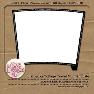 Starbucks Travel Mug Template Freebie Digi Paper S Ideas Pinterest Templateugs