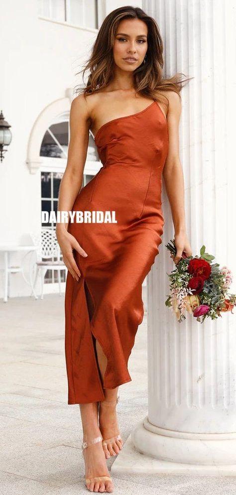 Fashion One-Shoulder Sheath Mermaid Tea-length Bridesmaid Dress, FC5310#bridesmaiddresses #bridesmaiddress #bridesmaids #dressesformaidofhonor #weddingparty #2021bridesmaiddresses #2021wedding