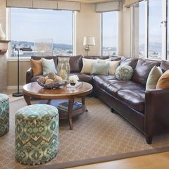 Design Ideas For Living Room With Brown Leather Sofa Set Includes Poufs And Pillows Houzz