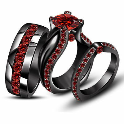 3 00 Ct Red Garnet His Her Band Matching Wedding Trio Ring Set Black Gold Over In 2020 Trio Ring Garnet Wedding Band Engagement Ring