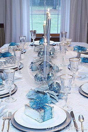 Christmas Holiday Table Setting Blue White Silver Decorations Canles Lit Silver Presen Christmas Table Decorations Christmas Table Christmas Table Centerpieces
