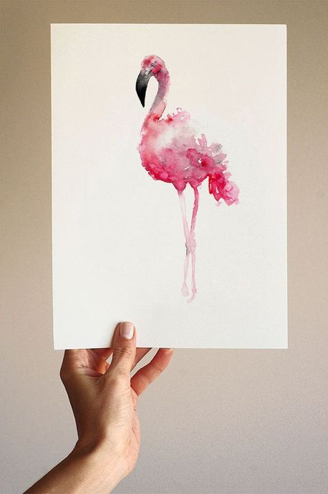 Flamingo Art Print Gift Idea. Pink Flamingo Wall Decor. Bird Watercolor Painting Home Decor.  Type of paper: Prints up to (42x29,7cm) 11x16 inch size are printed on Archival Acid Free 270g/m2 White Watercolor Fine Art Paper and retains the look of original painting. Larger prints are