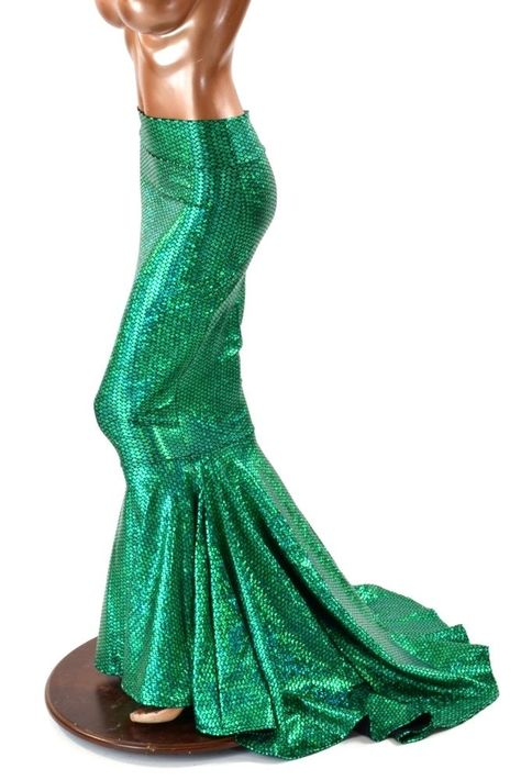 Green Mermaid skirt Shattered glass stretch Fabric fit flare w//train skirt