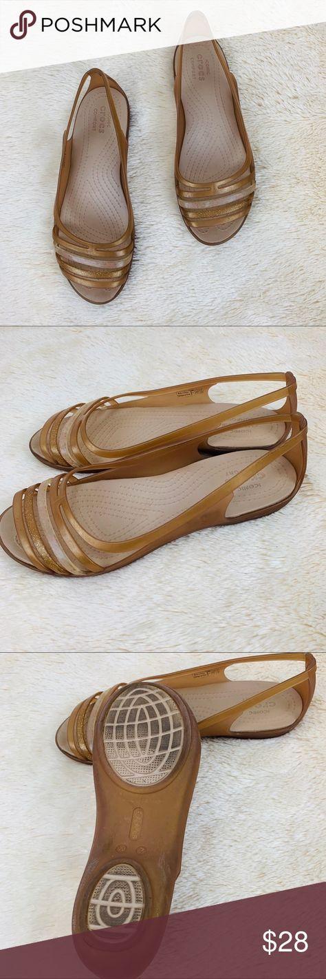 fe3241564fcc CROCS Isabella Huarache Comfort Sandals Flats Crocs size 7 Super  comfortable but totally cute Bronze and