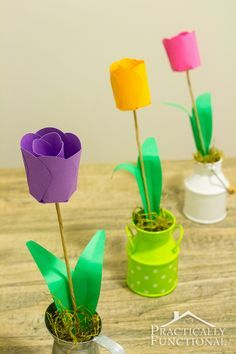 Construction paper flowers vase filled with gift wrap ribbon kid how to make paper flowers 3d paper tulips mightylinksfo Image collections