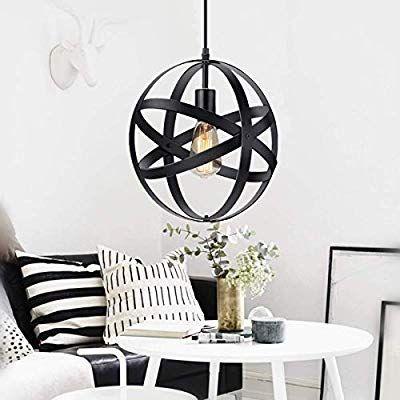 Industrial Metal Pendant Light, Spherical Pendant Light, Rustic Chandelier Vintage Hanging Cage Globe Ceiling Light Fixture for Kitchen Island Dining