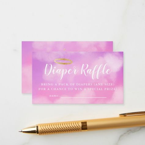 Heaven Sent Pink Baby Shower Diaper Raffle Ticket Enclosure Card | Zazzle.com