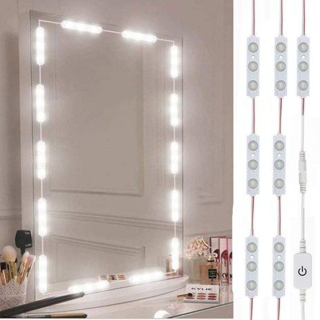Lighted Mirror Led Light Eeekit Dimmable 60 Led Vanity Mirror Lights Kit Multiple Dynamic Modes Strip Light For Cosmetic Makeup Vanity Table Set Walmart Com In 2020 Mirror With Led Lights