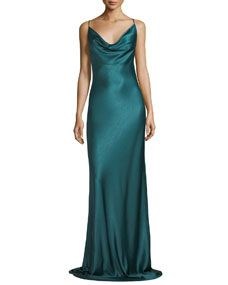 97d87ac9ff Black Halo Bessette Sleeveless Bias-Cut Satin Slip Evening Gown