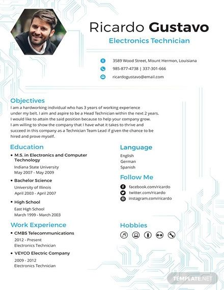 Free Electronic Technician Resume Template Engineering Resume Templates Electronic Technician Microsoft Word Resume Template