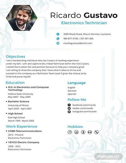 Free Electronic Technician Resume Template Engineering Resume Templates Microsoft Word Resume Template Electronic Technician