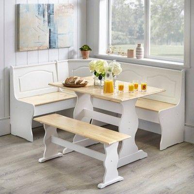 3pc Knox Nok Set White Buylateral Corner Bench Kitchen Table