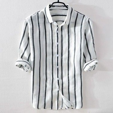 YUNY Men Striped Long Sleeve Turn Down Collar Casual Fitted Shirt Gray 2XL