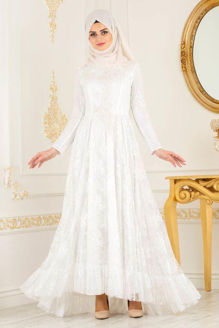 Nayla Collection Dantelli Ekru Tesettur Abiye Elbise 37401e Elbise The Dress Elbise Dugun