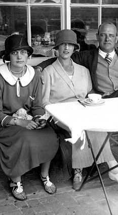 A happy marriage: Wodehouse with his wife Ethel, known as Bunny (centre) and step-daughter Leonora, 'Snorkles' (left)