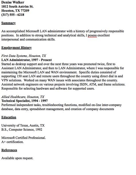 Administrator resume - lan administrator resume