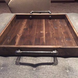 Industrial Style Ottoman Tray Rustic Ottoman Tray Wooden Tray Serving Tray Coffee Table Tray Rustic Rustic Serving Mobilier De Salon A Table