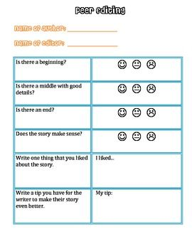 Editing Checklist For Self And Peer Editing  Writing