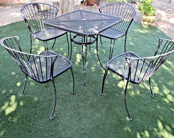 Vintage Carolina Forge Chairs And Iron Table Patio Set Mcm Clam Shell Back Safe Nationwide Shipping Available Plea Patio Set Vintage Patio Furniture Iron Table