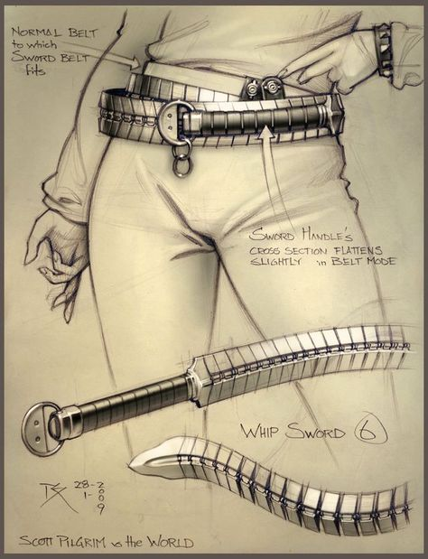 """Final whip sword concept -""""Scott pilgrim vs the World"""" pencil and photoshop Finales Peitschenschwertkonzept – """"Scott Pilgrim vs the World"""" Bleistift und Photoshop [. Scott Pilgrim, Armes Concept, Whip Sword, Armas Ninja, Weapon Concept Art, Knives And Swords, Swords And Daggers, Rwby, Dungeons And Dragons"""