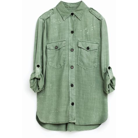 MILITÆRSKJORTE ($66) ❤ liked on Polyvore featuring tops, shirts, shirt tops, green top, military style shirts, military shirts and green shirt