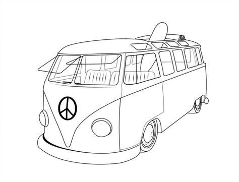 Desenho De Kombi Da Volkswagen Para Colorir Pampekids Net