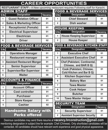 Various Department Jobs Available In Restaurant Karachi Jobs In - chinese chef sample resume
