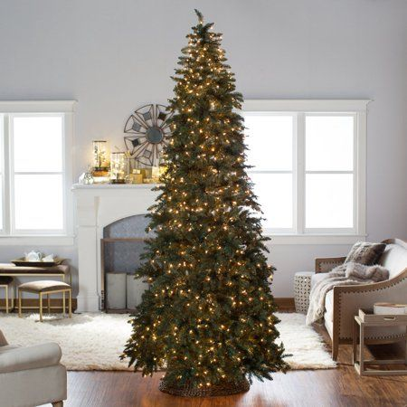 Finley Home 10 Ft Classic Pine Clear Pre Lit Slim Christmas Tree Walmart Com Slim Christmas Tree Christmas Tree Classic Christmas Tree