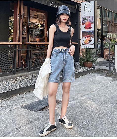 14.08US $ 55% OFF|Genayooa Streetwear Biker Shorts Women Jeans Denim Knee Length Womens Shorts Summer Korean Style 2020 Short Feminino High Waist|Shorts|   - AliExpress