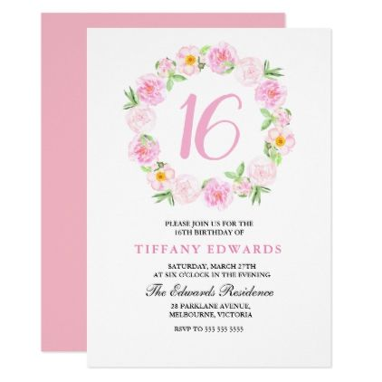 Cute Pink Floral Wreath Sweet 16 Invitation Girly Gift Gifts Ideas Cyo Diy Special Unique Birthday Invitations Sweet 16 Invitations Childrens Birthday