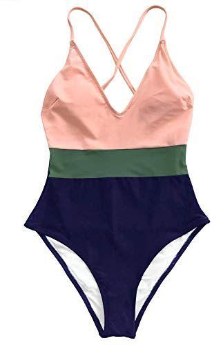 New CUPSHE Women's Cross Block Lining One-Piece Swimsuit